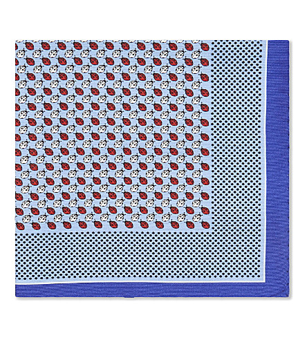 ETON Ladybird cotton-silk pocket square (Blue