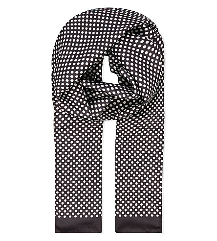 ETON Polka dot silk scarf (Black