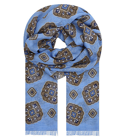 ETON Medallion print cotton-modal scarf (Blue