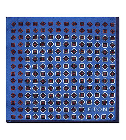 ETON 正方形打印丝绸装饰方巾 (蓝色