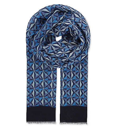 ETON Geometric modal and cotton-blend scarf (Blue