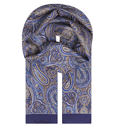 ETON Paisley print silk scarf (Offwhite/brown