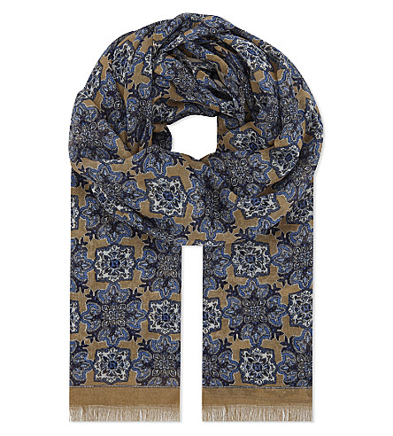 ETON Kaleidoscope modal and cotton-blend scarf (Offwhite/brown
