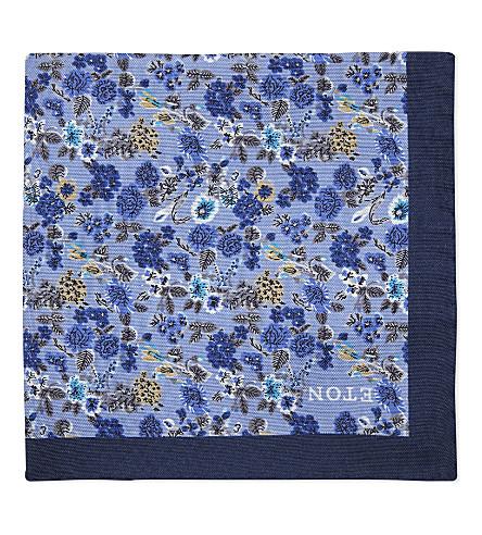 ETON Floral print silk pocket square (Blue
