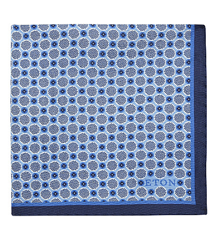 ETON Polka dot silk pocket square (Blue
