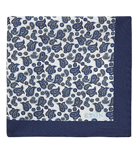 ETON Paisley silk pocket square (Blue