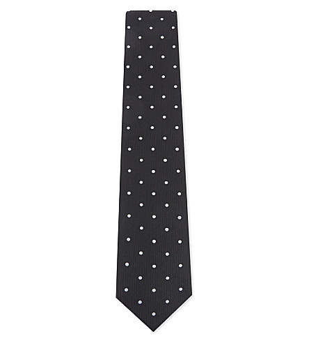 ETON Polka dot silk tie (Black