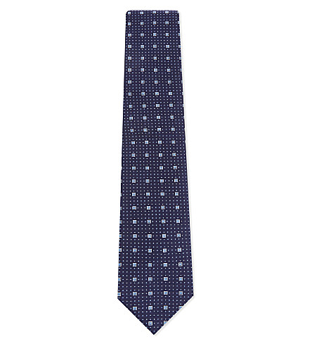 ETON 方形印花真丝领带 (蓝色