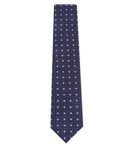 ETON Square print silk tie (Blue