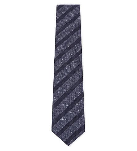 ETON Striped silk-blend tie (Blue