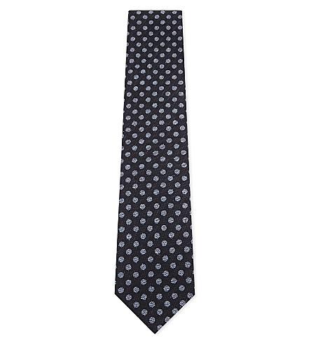 ETON Polka-dot silk-cotton tie (Blue