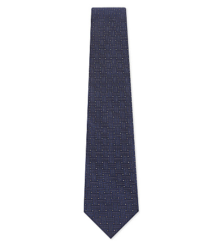 ETON Interwoven stripes print silk tie (Blue