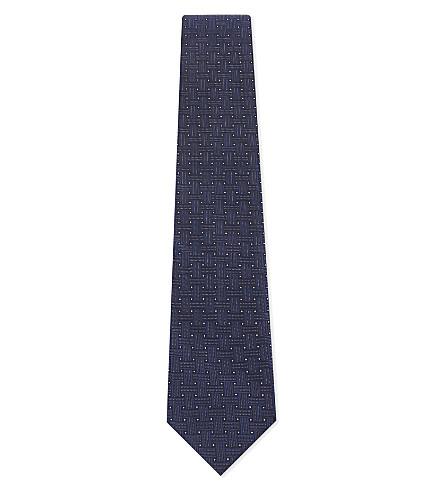 ETON 交织条纹印花真丝领带 (蓝色