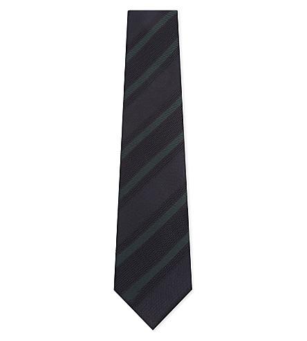 ETON 条纹真丝领带 (蓝色