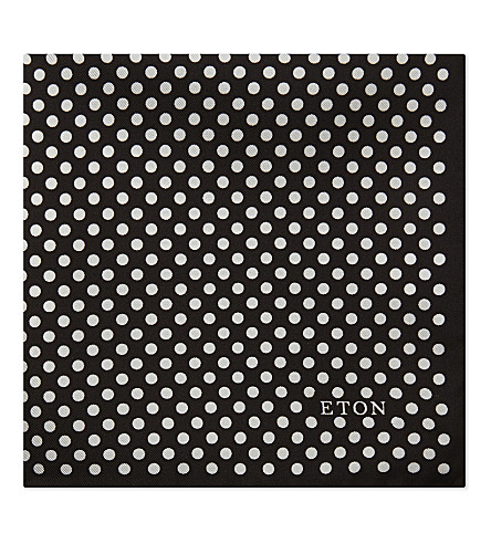 ETON Polka-dot silk pocket square (Black