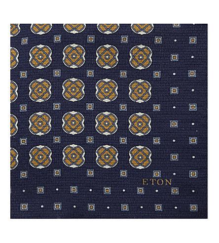ETON Tile-cross silk pocket square (Blue