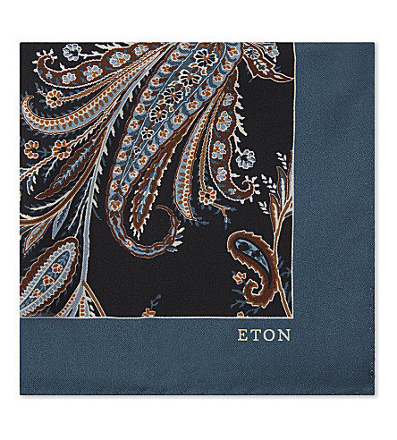 ETON Floral-print silk pocket square (Blue