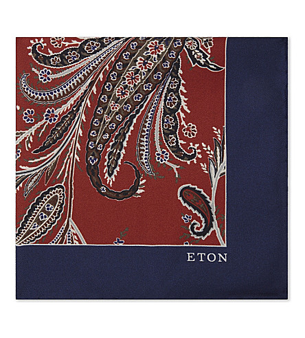ETON Floral-print silk pocket square (Blue