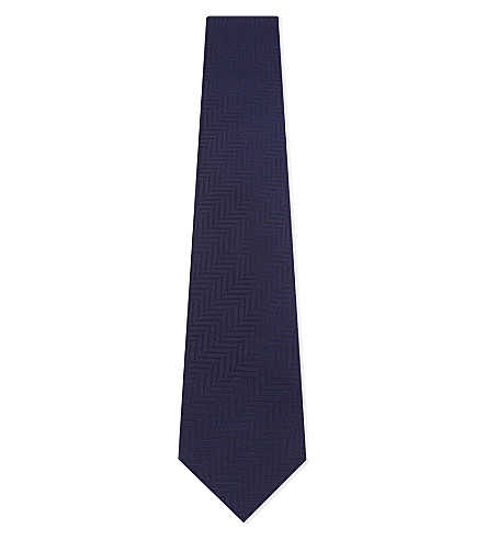 ETON Chevron stripes silk tie (Blue