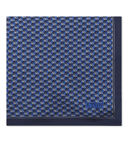 ETON Geometric cube silk pocket square (Blue