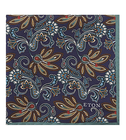 ETON Floral print silk pocket square (Blue