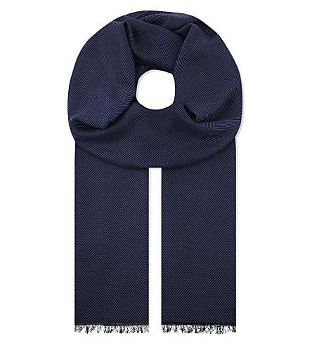 ETON Herringbone merino-wool scarf (Blue