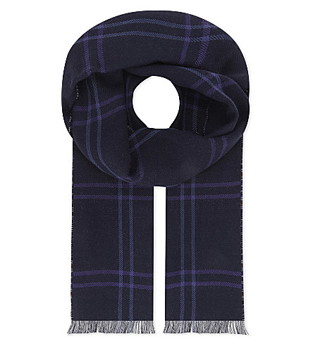 ETON Reversible printed merino wool scarf (Blue