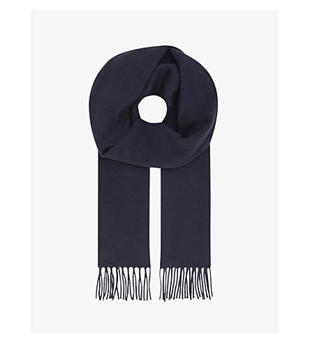 ETON Tasselled cashmere scarf (Blue