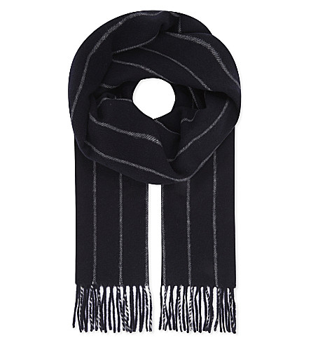 ETON Tasselled wool scarf (Blue