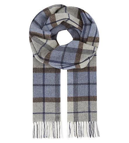 ETON Checked print wool scarf (Blue