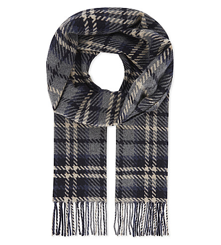 ETON Checked print wool scarf (Blue
