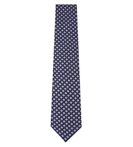 ETON Check and spot silk tie (Blue