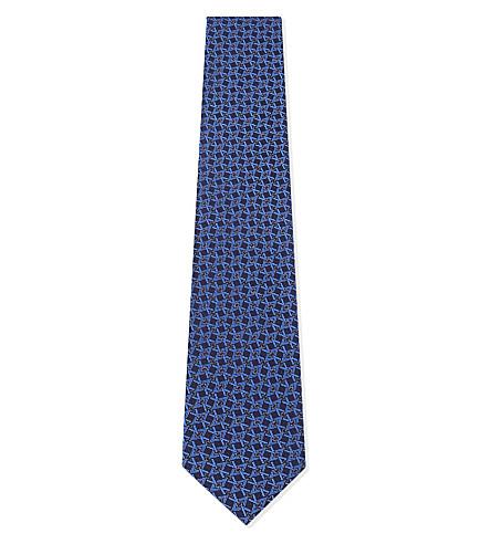 ETON Geometric diamond silk tie (Blue