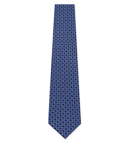 ETON 几何钻石丝绸领带 (蓝色