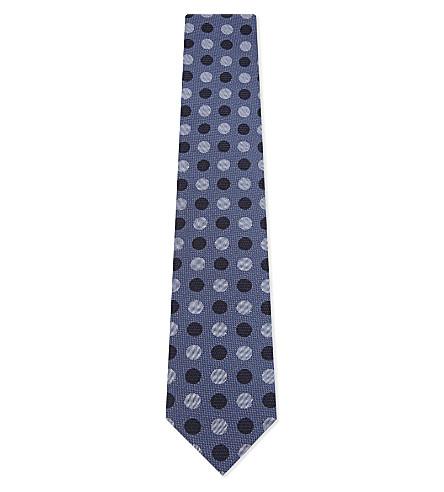ETON Spot and stripe silk tie (Black