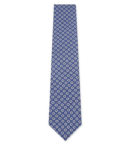 ETON 花卉真丝领带 (蓝色