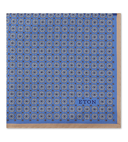 ETON Geometric print silk pocket square (Blue