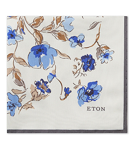 ETON Floral print silk pocket square (Grey