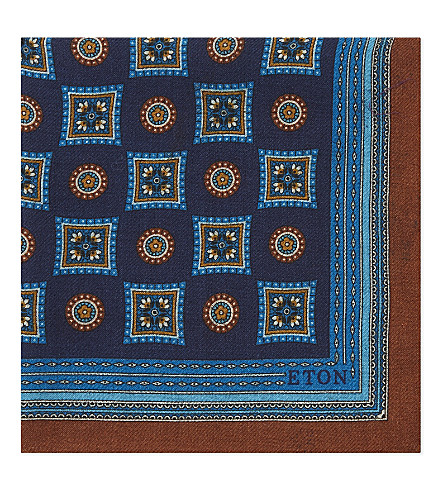 ETON Medallion wool and silk pocket square (Blue