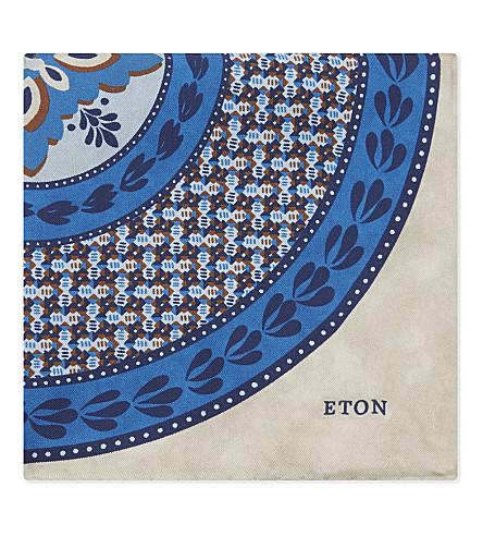 ETON Printed silk pocket square (Blue