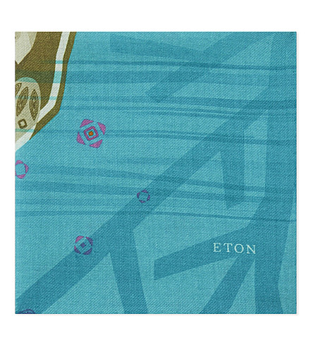 ETON Cheetah wool and silk pocket square (Green
