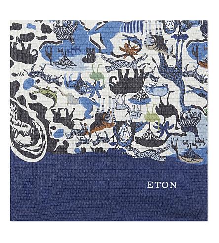 ETON Safari print silk pocket square (Blue