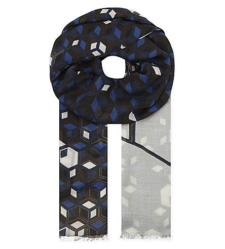 ETON Geometric modal and wool-blend scarf (Yellow/orange