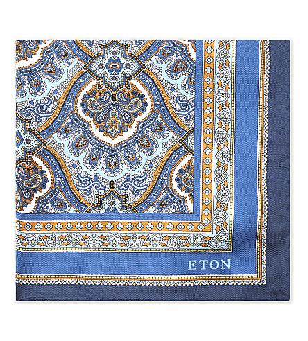 ETON Hamsa-print silk pocket square (Blue