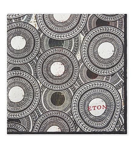 ETON Circle-print silk pocket square (Black