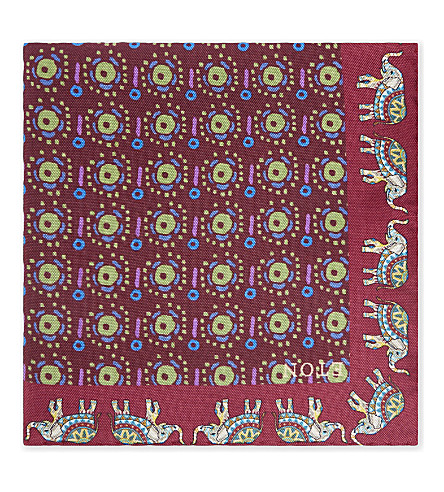 ETON Elephant border silk pocket square (Purple
