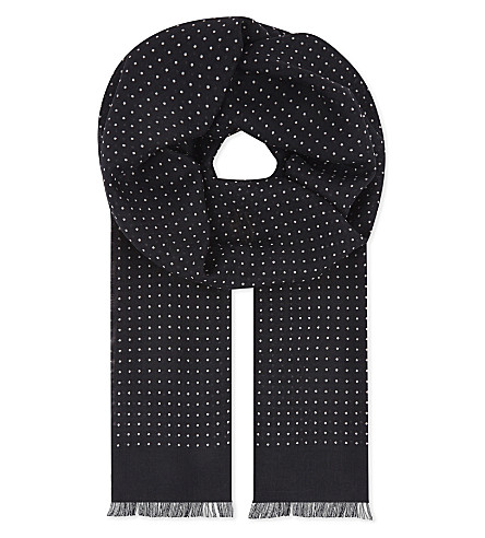 ETON Polka-dot wool-silk scarf (Black
