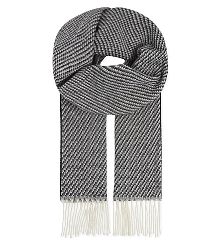 ETON Two-tone knitted wool scarf (Grey