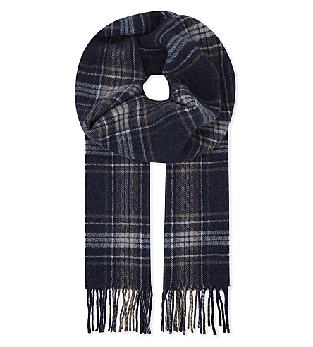 ETON Checked wool scarf (Blue