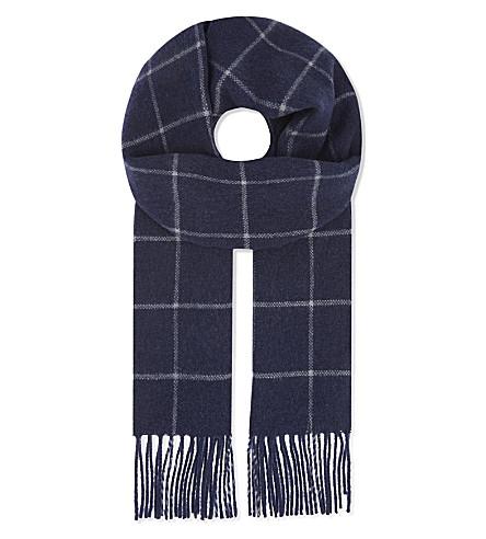 ETON 格纹羊毛围巾 (蓝色